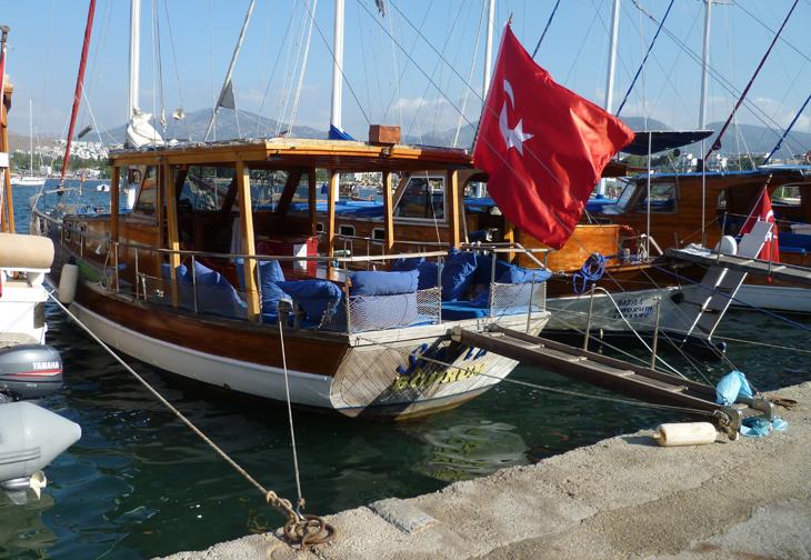 Bitez Harbour Boat with Turkish Flag Bodrum Turkey
