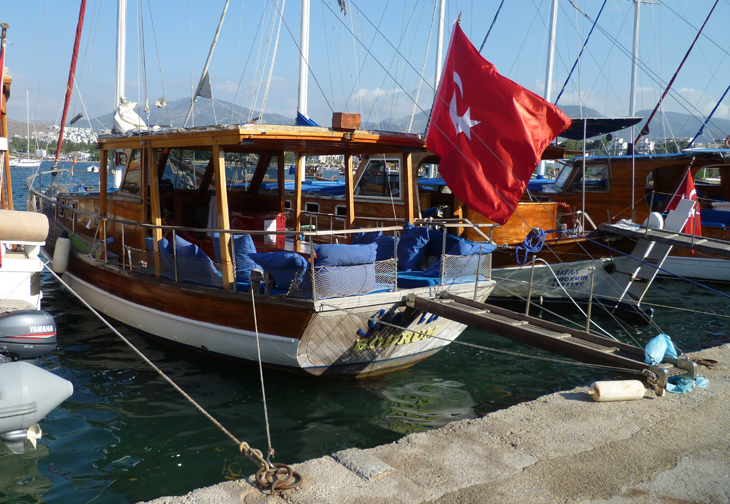 Bitez Harbour Boat with Turkish Flag Bodrum Turkey